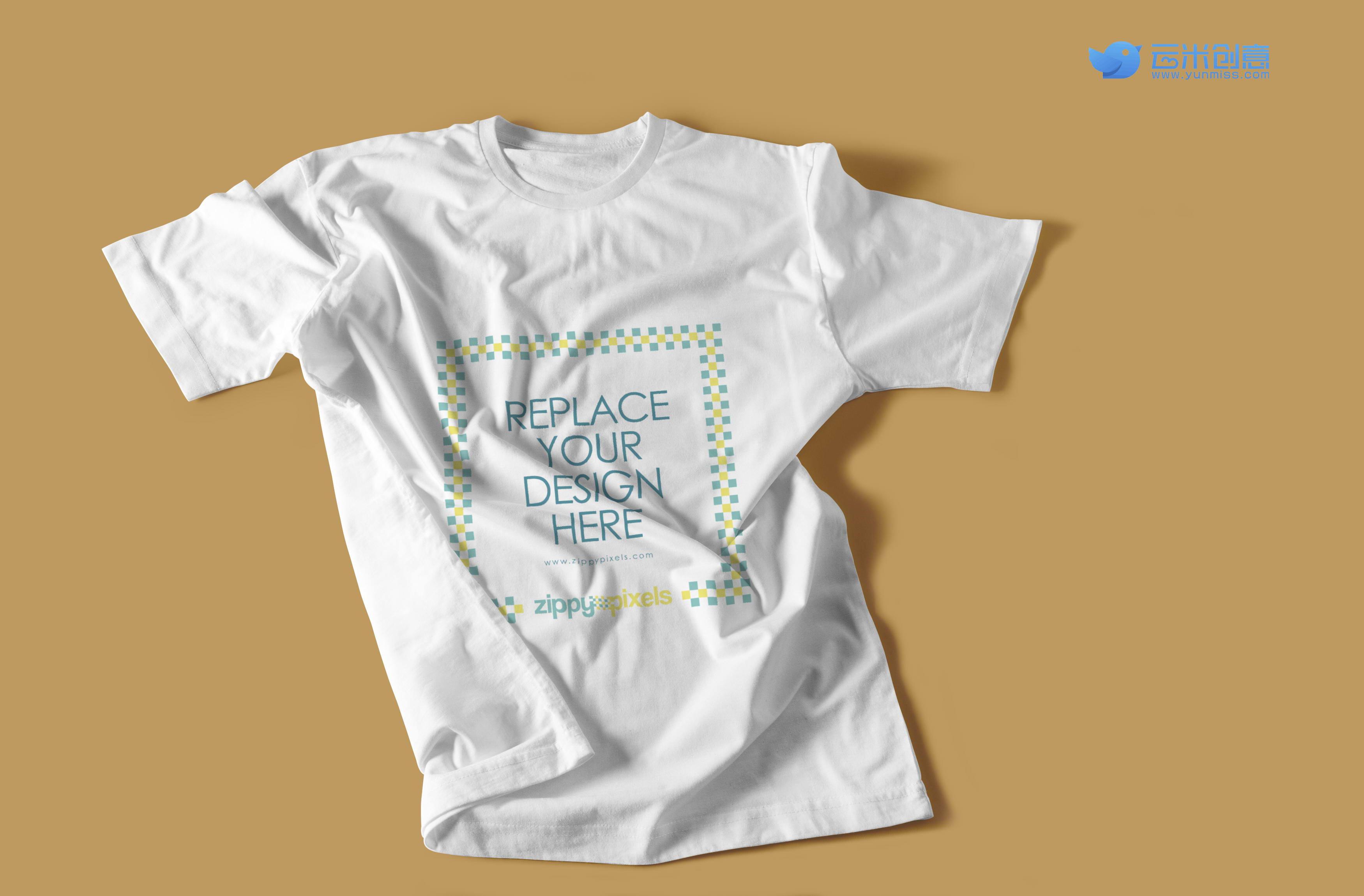 两款简单白色短袖t恤的服饰展示样机
